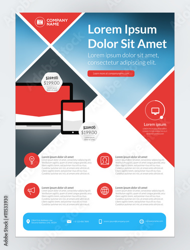 vector business flyer design template for mobile application or new