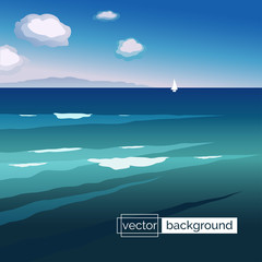 Flat design vector illustration. Sea landscape with waves, boat, mountains and clouds in gradient colors. Template of banner backdrop, poster, placard, cover or splash screen in cartoon style.