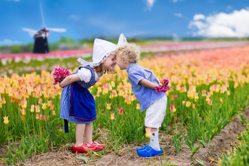Dutch children in tulip field