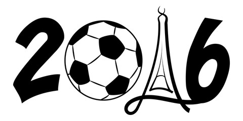 2016 European Soccer Championship With Football and Paris Eiffel tower