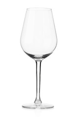 Empty wine glass on white, clipping path