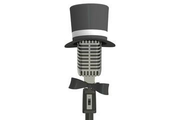microphone with cylinder hat and bow tie, 3D rendering
