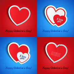 Double Red Heart Paper Sticker, Postcard, Greeting Card, Banner, With Shadow On Blue And Red Background Valentine's Day. Vector Illustration Postcard EPS10