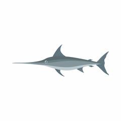 Swordfish icon, cartoon style