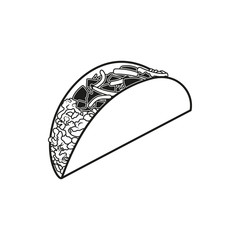 Taco simple black icon on white background