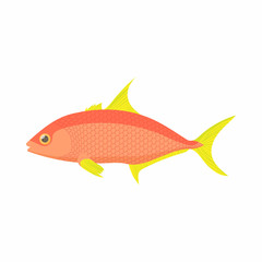 Orange fish icon, cartoon style