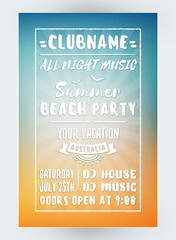 Summer Beach Party Flyer or Poster. Night Club Event. Summer Night Party. Vector Flyer Design Template
