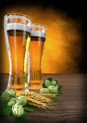 two glasses of beer with barley and hops on table - 3D render