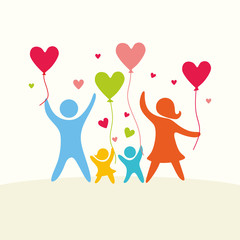 A happy family. Multicolored figures, loving family members. Parents: Mom, Dad, kids. Logo, icon, sign.