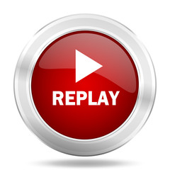 d8710051efd5e8 replay icon, red round glossy metallic button, web and mobile app design  illustration