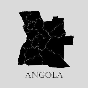 Black Angola map - vector illustration