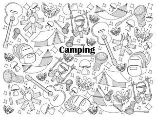 Camping colorless set vector illustration
