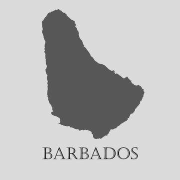 Black Barbados map - vector illustration
