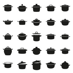 pot icon set in simple monochrome style icon on white background