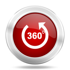 panorama icon, red round glossy metallic button, web and mobile app design illustration