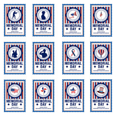 Set of memorial day stickers