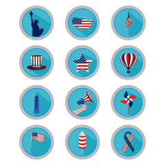 Set of american icons