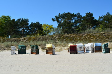 Strandkörbe auf Usedom Ahlbeck an der Ostseeküste