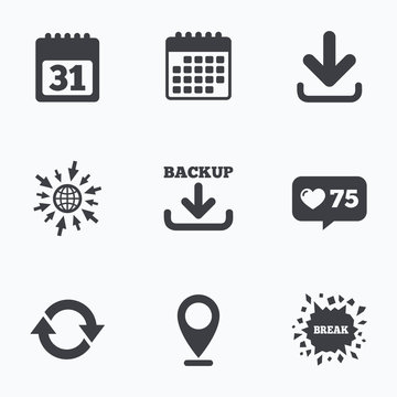 Download and Backup signs. Calendar, rotation