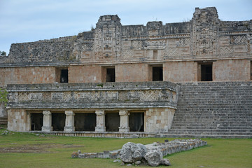 Architectural details of the nunnery building in Uxmal. Yucatan