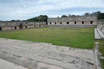 Nunnery buildings in Uxmal. Yucatan Peninsula, Mexico.