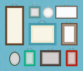 Different color blank picture frame template collection set.