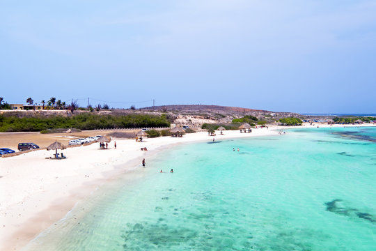 Aerial from Baby beach on Aruba island in the Caribbean