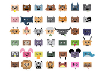 Head pixel animals set. ; vector illustration