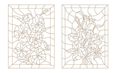 Set contour illustrations in the stained glass style, lilies and pansies, dark outline on a white background