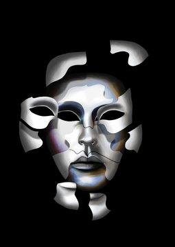 Eclatement en morceaux d'un masque de carnaval de Venise, laissant apparaître un autre masque