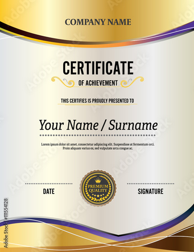 illustrator certificate template - yellow certificate gold background certificate template