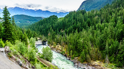 The Lillooet River and surrounding mountains just before Nairn Falls near the town of Pemberton in British Columbia, Canada Wall mural