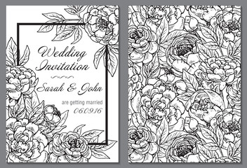 Wedding invitation with black and white peony flowers.