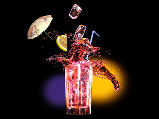 A night at the disco drinking a cool fresh long drink