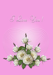 Greeting card with a bouquet of white roses on a pink background