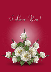 Greeting card with a bouquet of white roses on a red background