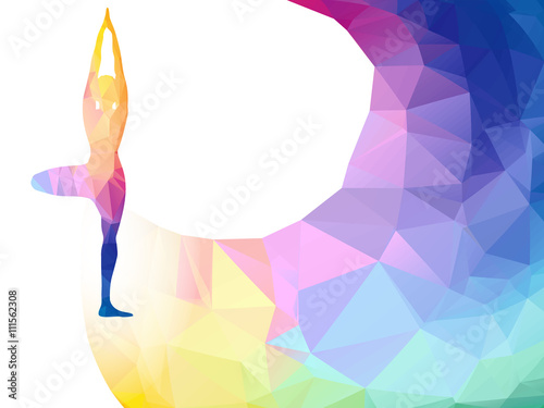 Vector rainbow polygonal label with woman silhouette of yoga pose vector rainbow polygonal label with woman silhouette of yoga pose yoga sport invitation poster or stopboris Gallery