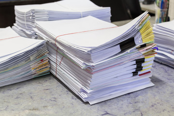 Stacks of paper in the office.