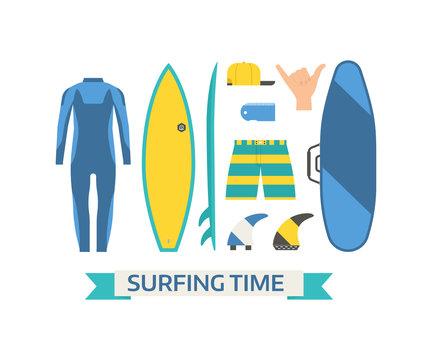 Surfing Equipment Vector Set