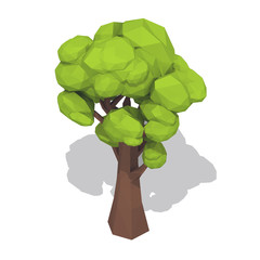 Green polygonal tree.Isolated on white background. Low poly style vector illustration