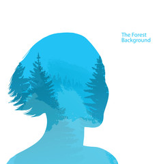 Vector double exposure illustration. Woman silhouette plus forest background. Double exposure portrait of woman on a blue background of coniferous forest. Woman and coniferous forest in morning mist.