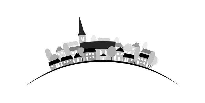 Village silhouette sur courbe