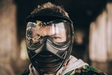 Close-Up Of A Paintball Player