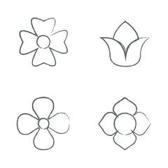 Draw set Flower Icons Set