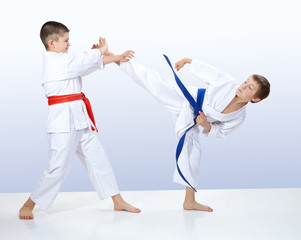 In karategi athletes train karate techniques