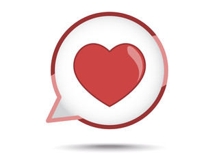 heart in speech bubble on white background