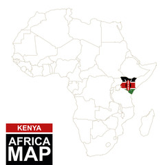 Africa contoured map with highlighted Kenya.
