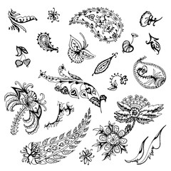 large set of decorative floral element of beautiful paisley henna design Vector Illustration