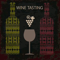 Wine tasting card, two bottles of white and red wine, a glass and grape sign over dark background. Digital vector image.