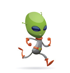 Vector cartoon image of funny green alien with big eyes and a small antennas on his his head in gray-orange spacesuit, running somewhere on a white background. Vector illustration.